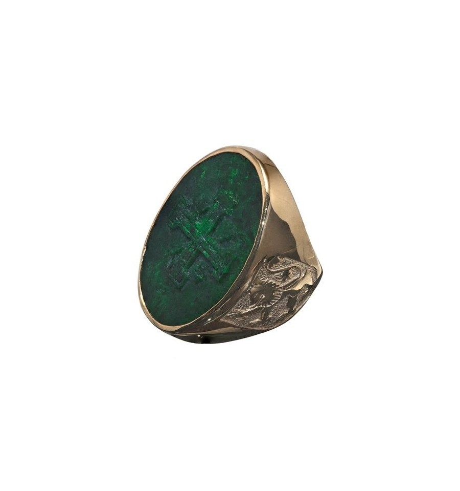 A Large Sculpted Jade Jerusalem Cross Ring