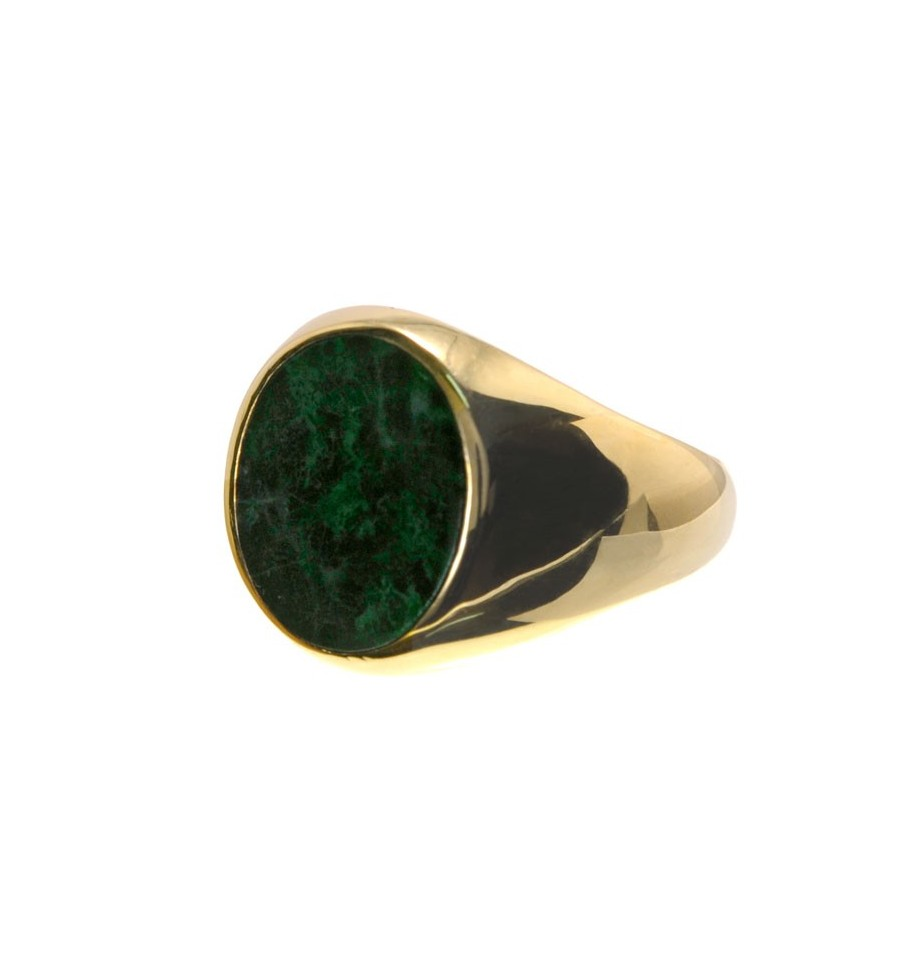 A jade Stone ring set To Gold Plated Sterling Silver 925