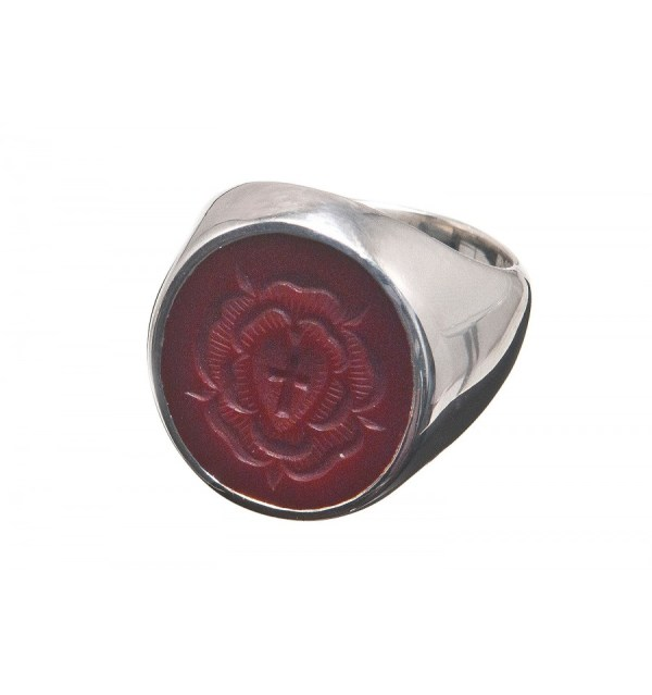 Red Agate Rosicrusian Sterling Silver Cross Ring - Regnas