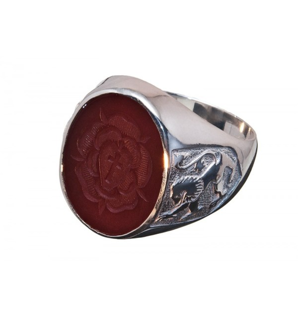 Red Agate Rosicrusian Cross & Lion Of Scotland Sterling