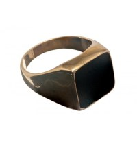 Black Onyx Square Stone Gold Plated Silver Ring - Regnas ...