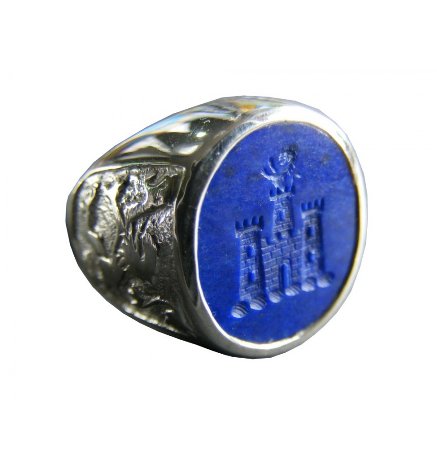 Lapis Lion And castle with Rampant Lion Sterling Silver Family Crest Ring  Regnas Jewelry