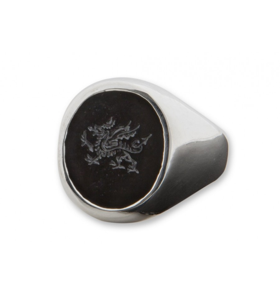 Black Onyx Welsh Dragon Engraved Sterling Silver Stone