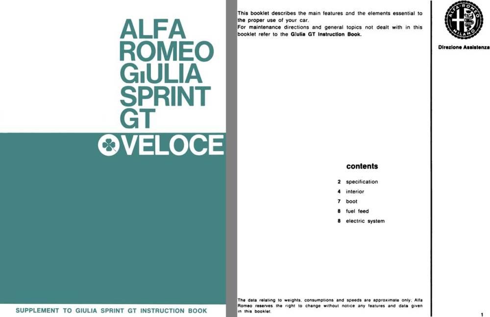 medium resolution of alfa romeo 1966 alfa romeo giulia sprint gt veloce supplement to giulia sprint gt instruction