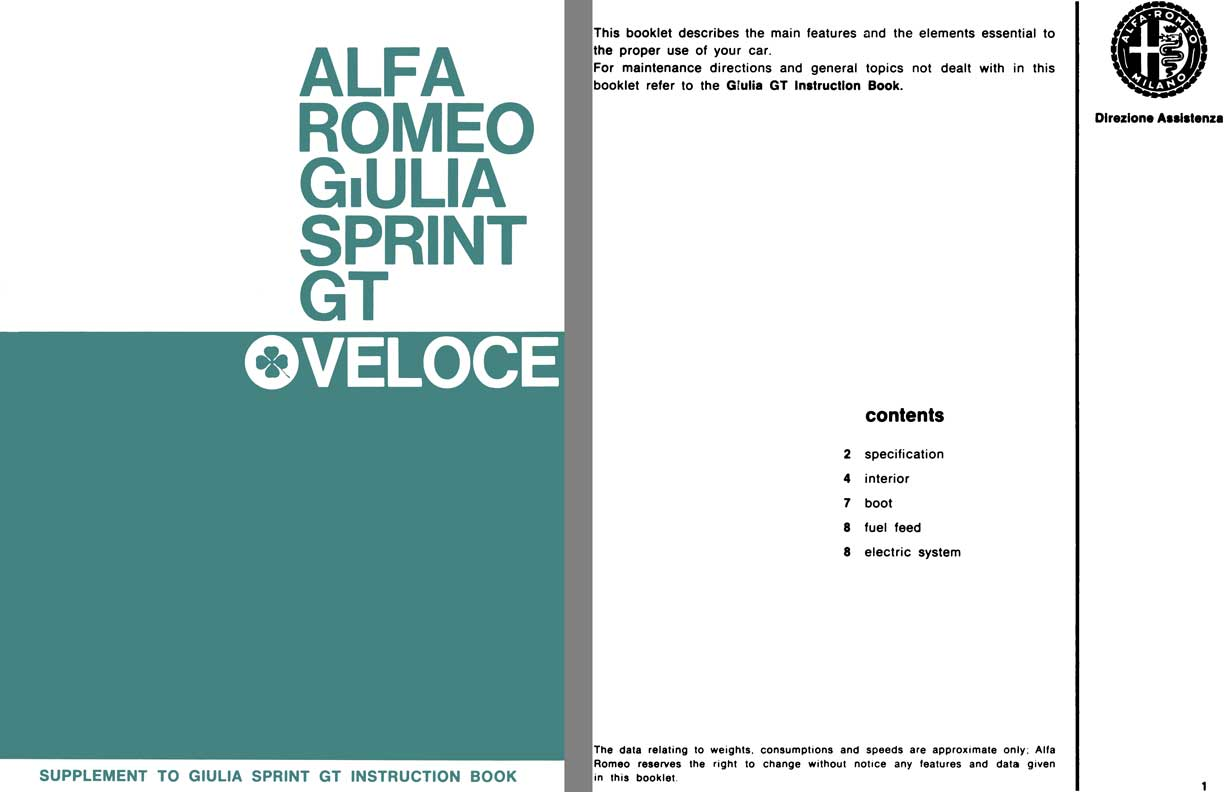 hight resolution of alfa romeo 1966 alfa romeo giulia sprint gt veloce supplement to giulia sprint gt instruction