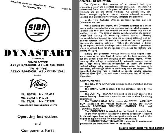 lucas dynastart wiring diagram mercury optimax 150 regress press siba 1964 operating instructions and component parts single double type