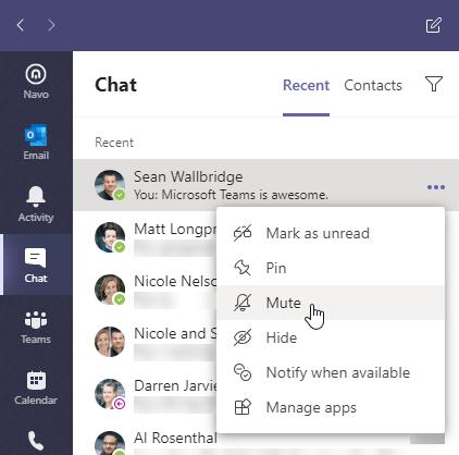 Chat menu in Microsoft Teams. Ellipses menu is open and Mute menu item is highlighted
