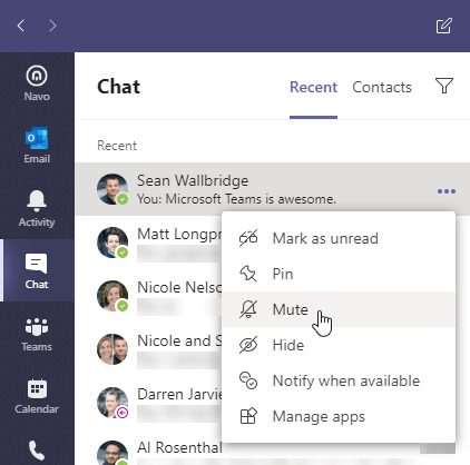 Chat menu in Microsoft Teams. Ellipses menu is open and Mute menu item is highlighted