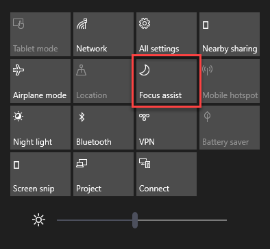 Focus Assist setting in Windows 10 Action Center