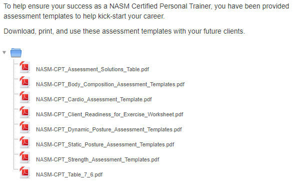 NASM Assessment Templates