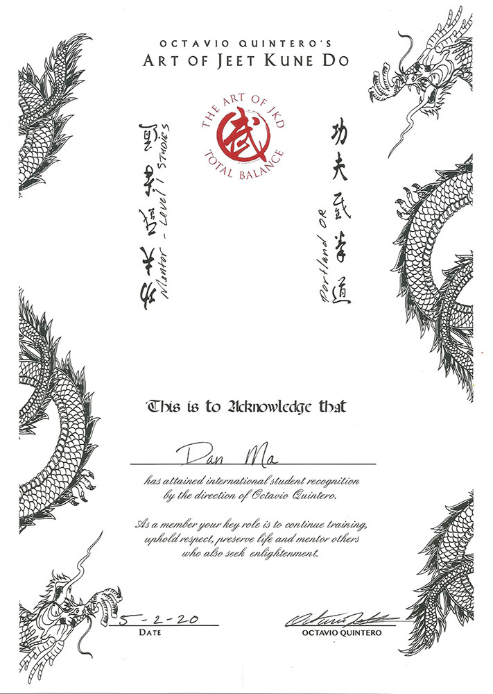 Jeet Kune Do Certification