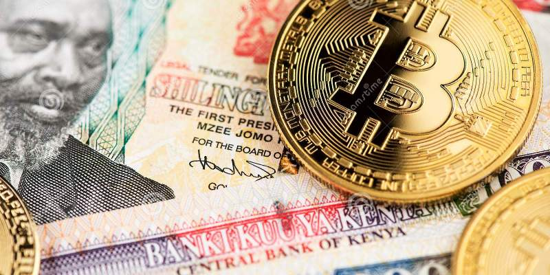 golden bitcoin cryptocurrency coins btc kenyan shilling currency banknotes virtual money kenya close up image africa