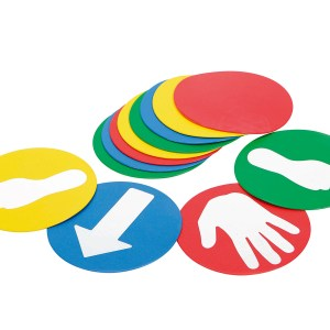 Gymnic EDUC'O'DISKS, Soft Stepping Discs w/ Self-Adhesive Stickers for Children, Balancing Disks for Orientation and Coordination