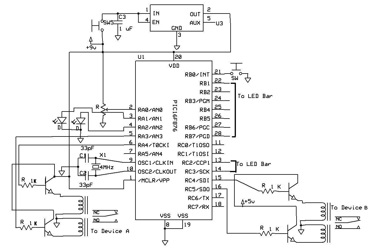 hight resolution of the switch relay circuit diagram the primary components are a pic and