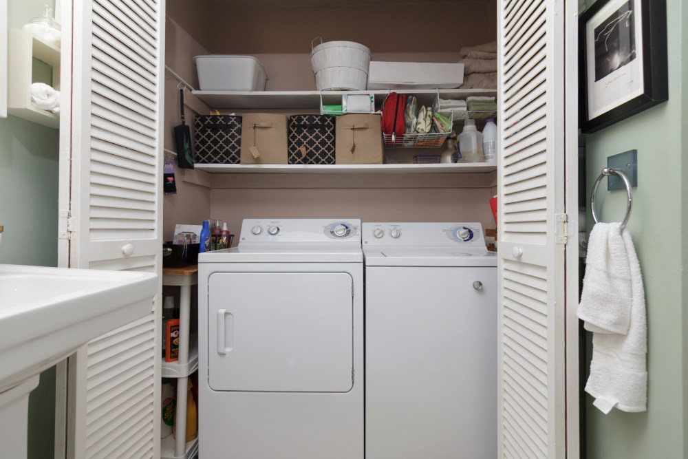 Closet washer and dryer.