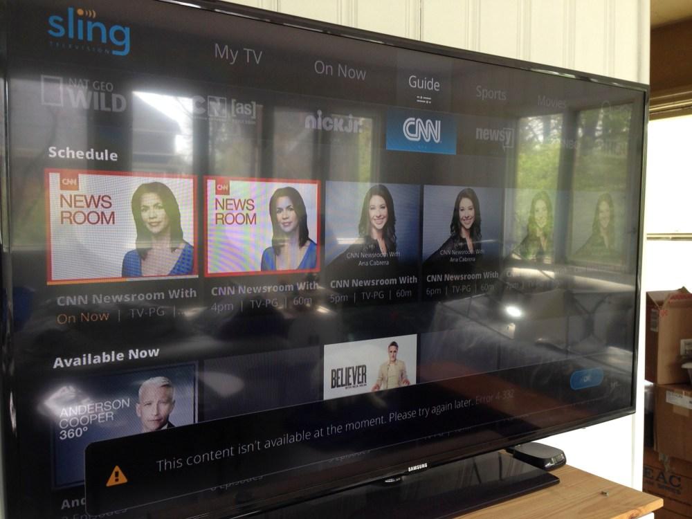 Sling TV menu layout.