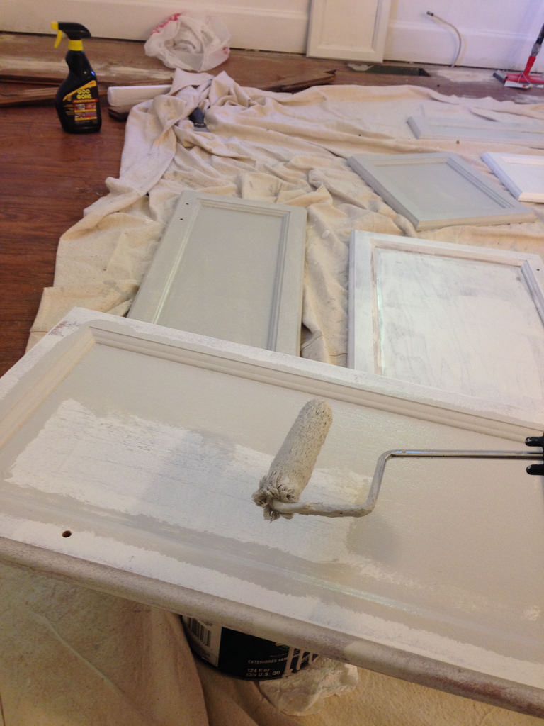 how to paint cabinets without sanding rehab dorks With what kind of paint to use on kitchen cabinets for create bumper stickers