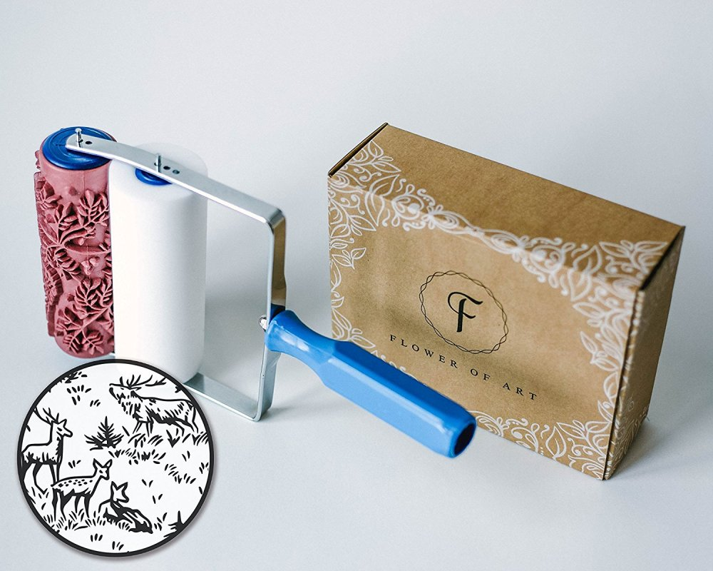 Patterned paint roller to create faux wallpaper.