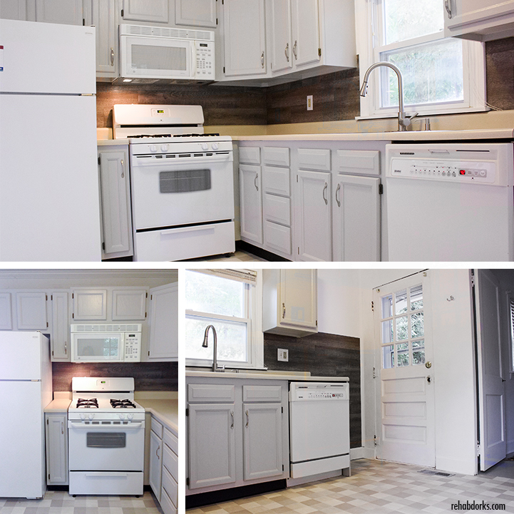 Rental kitchen with painted cabinets and a vinyl plank backsplash.