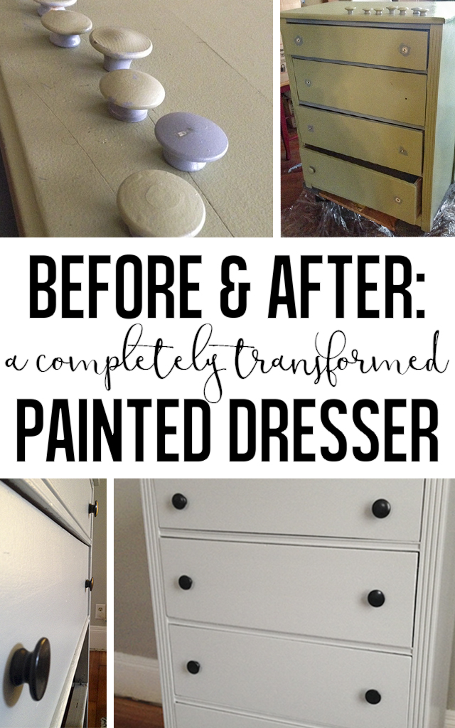 Before and after: A completely transformed painted dresser.