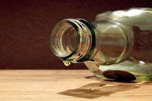 an empty whisky bottle