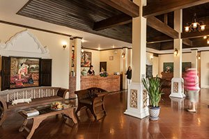 teak pillars and reception