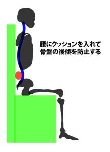 座位では腰にクッションを入れることで腰痛が軽減できる