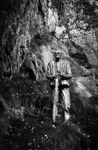 Statue des alten Steinbrechers am Bärloch bei Jonsdorf im Zittauer Gebirge