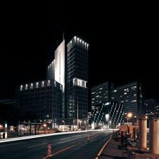 Berlin Leipziger Strasse bei Nacht