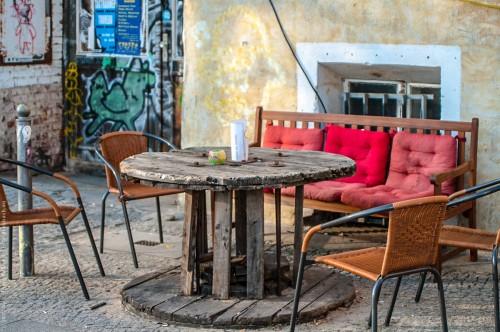 Cafetisch aus uralter Kabeltrommel