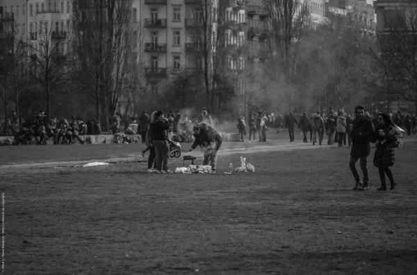 Grillen im Mauerpark im Februar