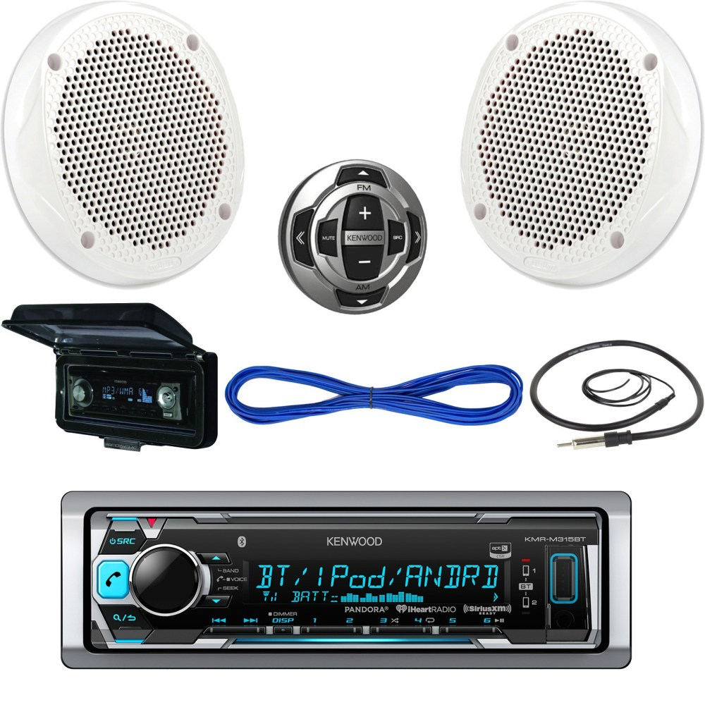 medium resolution of details about kenwood usb bluetooth boat radio remote cover 6 5 200w speakers w wires antenna