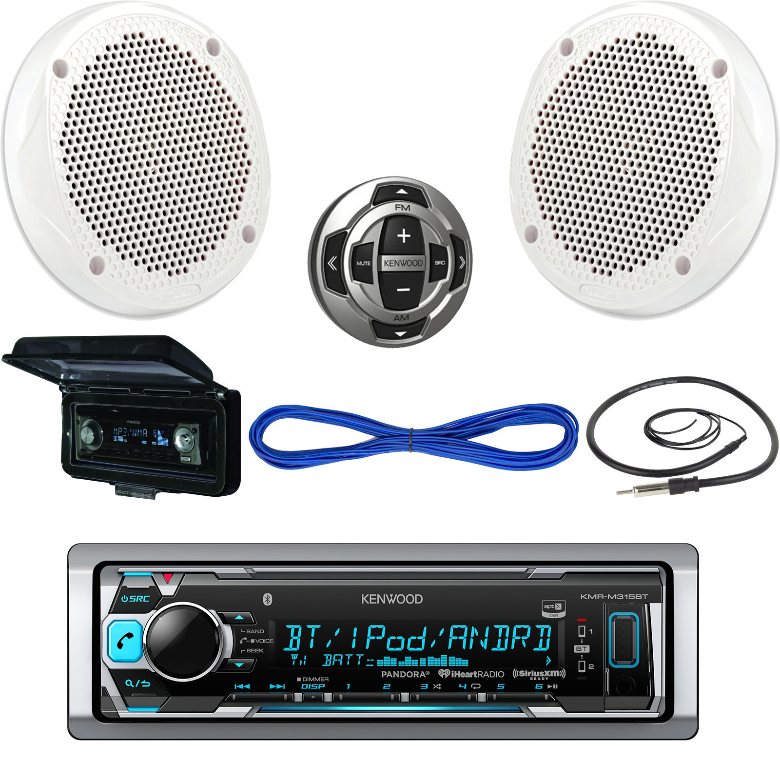 hight resolution of details about kenwood usb bluetooth boat radio remote cover 6 5 200w speakers w wires antenna