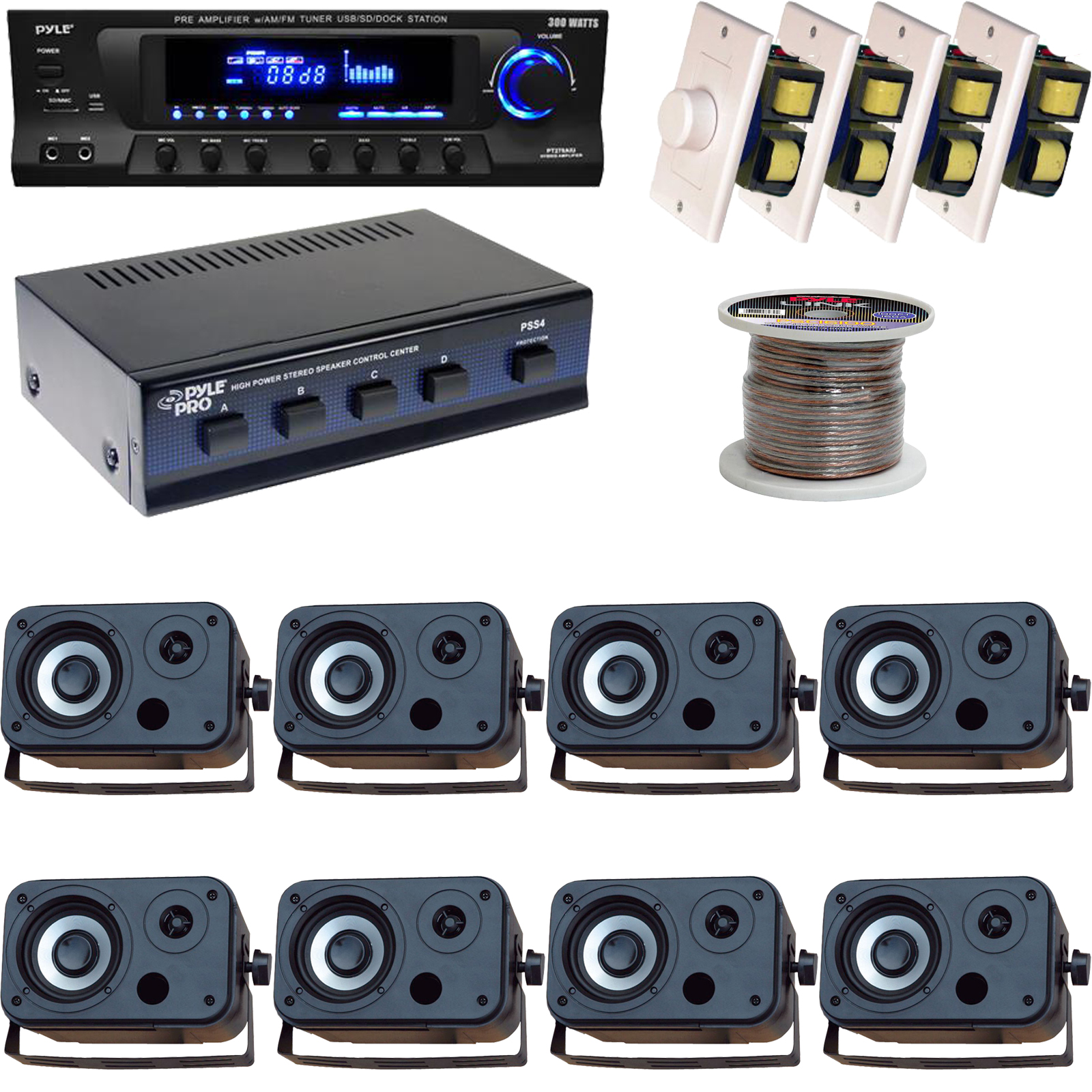 hight resolution of details about 5 25 marine box speakers volume knob speaker selector wires usb am fm receiver