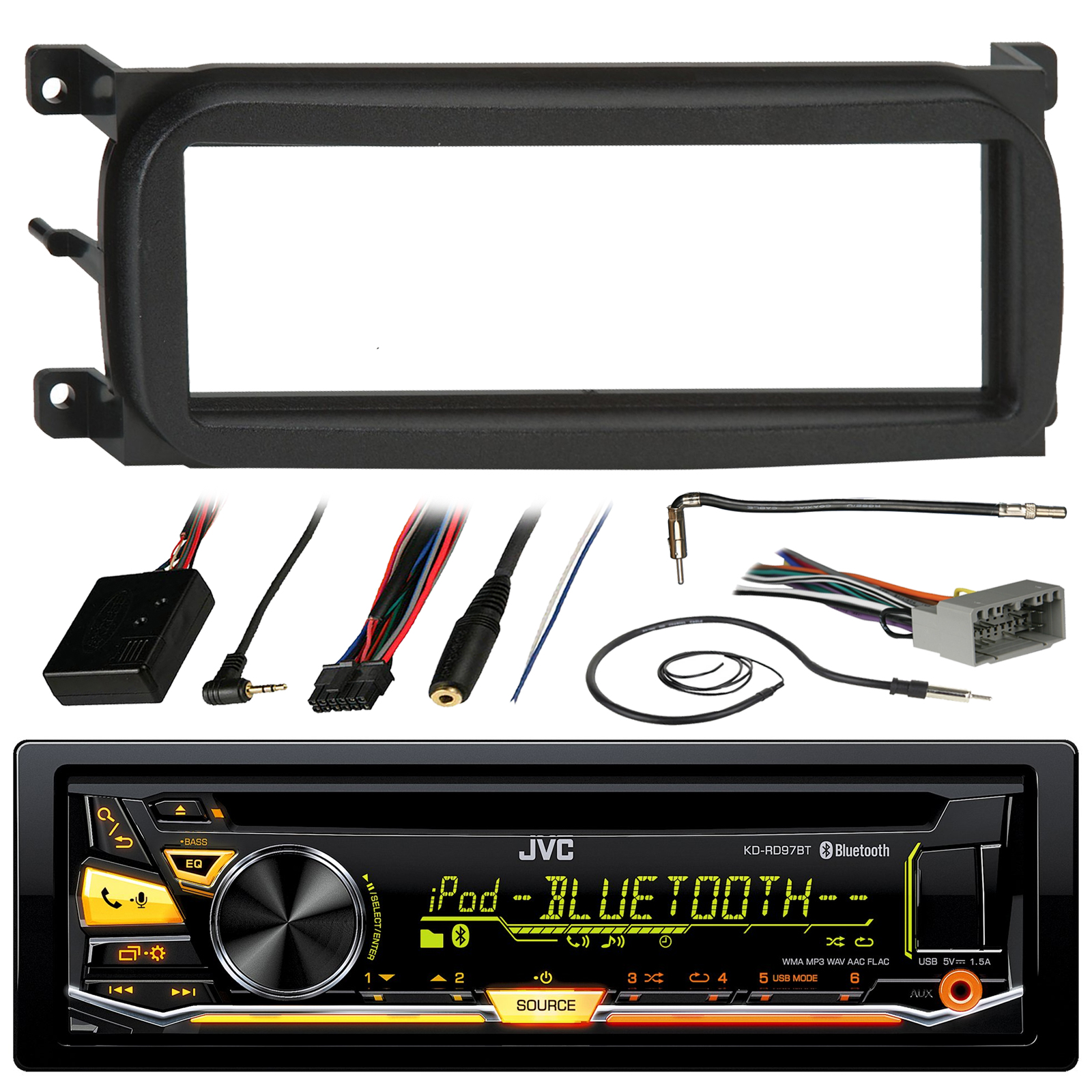 hight resolution of details about bluetooth cd jvc radio chrys jeep 98 09 adapter din kit antenna adapter harness