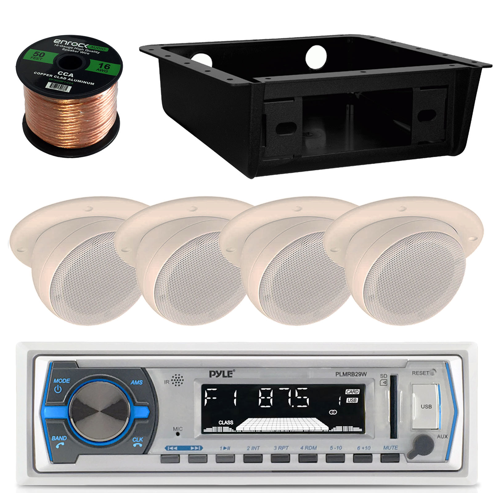 hight resolution of details about 4 flush mount 3 wall speakers wiring bluetooth usb radio underdash housing