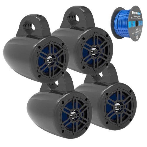small resolution of details about 4 marine wakeboard tower speakers black 2 pairs tinned speaker wire