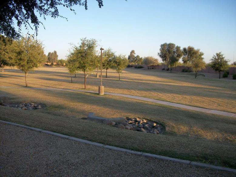 soccer field with walking trails