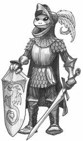 grenouille humanoïde bardée d'une armure de chevalier du moyen-âge