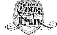"""Blason calligraphié """"Sèm de Caors, avèm pas paur"""" - dessin noir et blanc après toilettage vectoriel"""