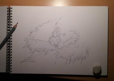 Fée du printemps : croquis crayon