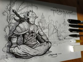 Inktober 2018 Day 2 : Tranquil / Tranquille ... Le guerrier immobile