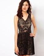 Warehouse Lace Pleat Dress