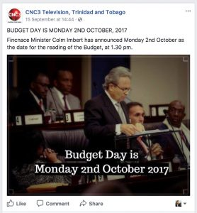 screenshot of colm imbert announcing the budget speech from the CNC3 facebook page.