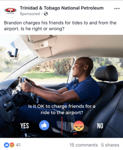 screenshot of a Facebook post asking people to choose yes or no to someone charging for using his car.