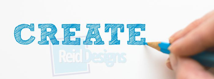 "blue color pencil writes ""Create"" in a serif block type."