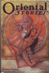"A Dejah Thoris look a like dances in front of the Hindu Goddess for the cover of ""Oriental Stories"" in Margaret Brundage's Scented Gardens."