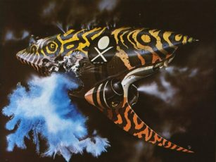 A Chris Foss painting of a yellow and black spaceship spewing snow