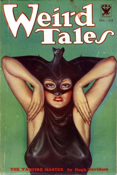 """A cover from Weird Tales pulp magazine done by Margaret Brundage, an artist you should know, titled """"The Vampire Master"""". It depicts a woman with red lipstick and a bat for a hat. Yes. a Bat for a hat and mask. Smiley Face."""