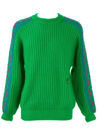 a9c27b5ffa Chunky Green Wool Jumper with Blue Patterned Sleeves – L XL